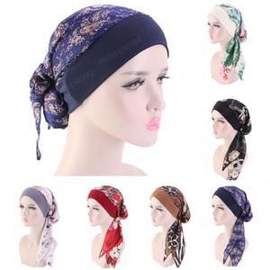 Рамадан Мусульманский Женщины Печатные Pre-Tied Тюрбан Шляпы Хиджаб Бандана Упругие Длинные волосы диапазона Глава Обертывания Индийский Caps Random Color