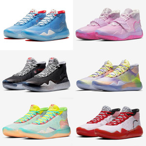 Hot Kevin Durant KD XII 12 tante White Pearl encre Éclabousser encre All Stars Enfants Basketball Chaussures Pour Hommes 12s sport Chaussures de sport Chaussures