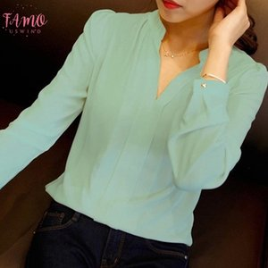 Spring Autumn White Blouses Office Shirts Women V Neck Tops Long Sleeve Chiffon Blouse Female Ladies Work Wear 3 Colors