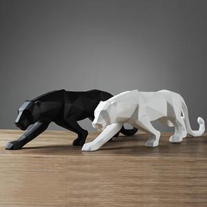 [MGT] 4 Couleur abstraite moderne Noir / Blanc géométrique Leopard Statue bureau Résine Sculpture Panther Artisanat Décor animal Figurine