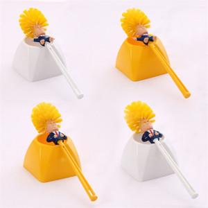 Criativa Trump Toilet Brush Set Com suporte de plástico Escovas Amarelo limpeza Branca Ferramentas Para Casa de Banho Durable Type6 8ME E1