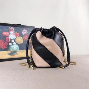 Stile autunno 2019, mini borsa a secchiello, hardware fibbia bicolore oro e argento, dettagli straordinari, mix di due colori diversi.