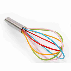 10 Inch Wire Whisk Stirrer Mixer Egg Beater Color Silicone Egg Whisk Stainless Steel Handle household Baking Tool ZZA2355 100Pcs