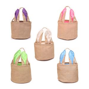 DIY Easter Egg Basket Cartoon Rabbit Ears Bunny Basket Easter Jute Canvas Party Festival Gift Bag Portable Baskets Candy Tote Bags A122101