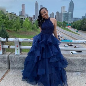 Navy Blue Quinceanera Dresses Halter Backless Cascading Ruffles Floor Length Prom Party Gowns for Sweet 16 Special Occasion Dress