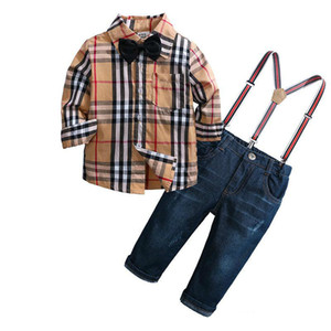 2019 Desconto Primavera E Outono New Boy Algodão Xadrez Camisa Calças Jeans Terno Crianças Cavalheiro Terno de Quatro Peças terno de Crianças
