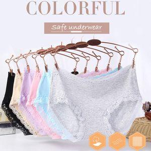 2019 El más reciente Señora Breve cordón lleno de ropa interior de algodón de alta cintura del cordón de Control de ajuste suave de la ropa interior de las mujeres Bragas