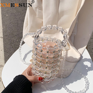 XMESSUN 2020 yeni Kristal çanta kadın moda Trendy inci kova çanta debriyaj El vahşi Parti çantası omuz Messenger F386