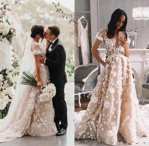 Modern 3D Floral Country Wedding Dresses with Sleeves 2020 Berta V-neck Handmade Flowers Bohemian Garden Bride Dress vestido novia