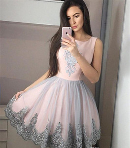 2019 Blush Pink Homecoming Dress A Line Appliques Juniors Sweet 15 Graduation Cocktail Party Abiti Plus Size Custom Made