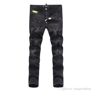 Mens нового конструктора способа прибытия высокого качества Удобные повседневные джинсы Брюки длинные брюки прямые Простые Hole Мужские джинсы