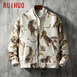 Ruihuo Kaplan Nakış Ceket Erkekler Ceket Streetwear Bombacı Ceket Erkekler Hip Hop Kış Ceket Erkekler Ceketler Mont 5XL 2020 Bahar Yeni T200502