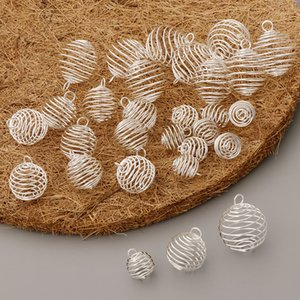 30pcs Silver Plated Spiral Bead Cages Pendants for DIY Crafts in 3 Sizes (10pcs per size)