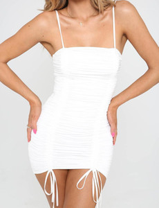 Bodycon Elbise Yaz Spagetti Kayışı Mini Seksi Elbiseler Giyim Kadın Draped Kılıf