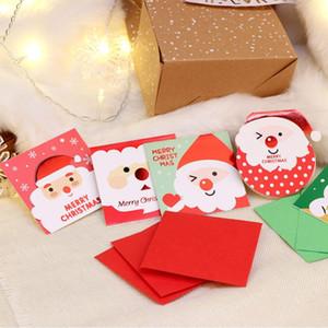 Zarf Merry Christmas Kartpostal Yılbaşı Hediye Kart ile 20Pcs Karikatür Kardan Adam Noel Baba Noel Tebrik Kartı