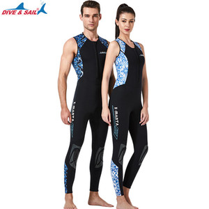 DIVE&SAIL new suit; male and female 3 mm sleeveless conjoined diving suit warm snorkeling surfing jellyfish swimsuit