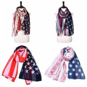 Vintage USA American Flag Scarf Fashion Woman 4th Of July Wrap Long Scarves Lady Travel Beach Scarf Party Gift LJ-TTA1130