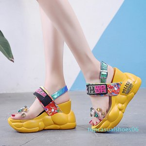 Rimocy chunky platform big rhinestones pvc sandals women summer fashion transparent super high heels wedges sandalias mujer 2019 t06