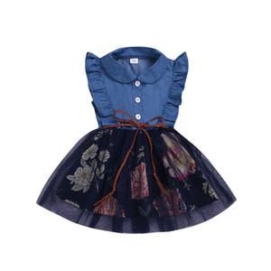 Baby Girls Jeans Dress Summer Kids Ruffles Sleeve Flowers Tulle Skirt Princess Dress Children Casual Dresses Clothes 15085