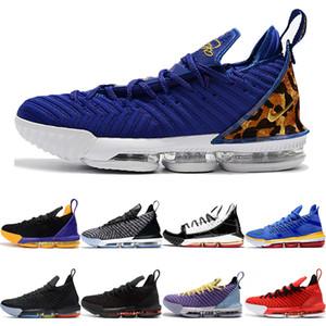 NIKE LeBron James 16 Kral Mahkemesi Mor 16 s Basketbol Ayakkabıları 1 Thru 5 Çok Renkli Kral Oreo I Promise Lakers 16 XVI mens spor ayakkabı Eğitmenler Sneakers 7-12