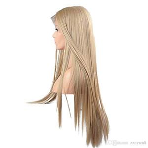 13 * 6 İnç Dantel Tam Uzun Sarışın Peruk İçin Kadınlar kanekalon Sentetik Dantel Açık Peruk Düz Real Doğal