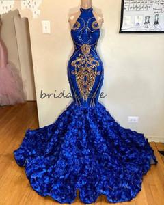 África Royal Blue Mermaid Vestidos de fiesta con rosa Floral Halter Plus Tamaño Tamaño Formal Vestido de noche Spark Spligin Aplique Sweet 16 Quinceañera 2020
