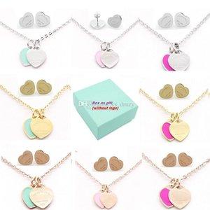T Marke Stamp Edelstahl Ohrringe Halskette Schmuck-Set Liebes-Herz-englische Buchstaben Halskette für Frauen Dame mit Logo