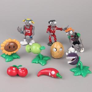 Nuevos 9 estilos / Set Plants vs Zombies Figuras de acción regalo de los juguetes del Ministerio del Interior juguetes muñeca de dibujos animados de 7cm niños PVC Display L450