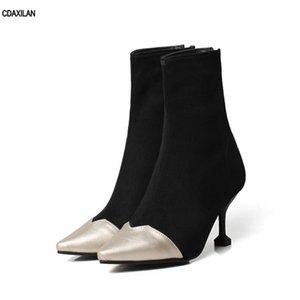 CDAXILAN new chegou sapatos mulheres tornozelo botas flock saltos finos apontou toe saltos altos senhoras primavera de volta com zíper botas de bezerro do meio