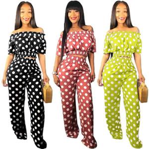 Frauen Welle Punktdruck Zweiteiler Mode Trainingsanzüge Kurzarm Top und Breite Beinhosen Casual Outfits Plus Größe Sommer Kleidung S-3XL