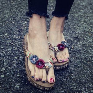 Zapatos de la playa con suela gruesa flip-flops verano la moda de Nueva desgaste vacaciones deslizadores de las mujeres