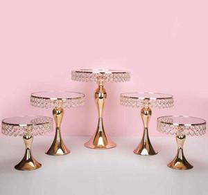 5 unids / set Lujo Soporte de la torta de Cristal de Oro soporte de pastel de bodas pan cupcake dulce mesa mesa de dulces barra de centros de decoración SN2591