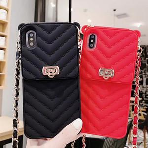 Copertura di caso di modo delle donne della borsa di lusso del metallo della borsa chiusura del sacchetto della carta del silicone con la catena in pelle per Iphone 11 Pro XS Max XR X 8 7 6 6S più