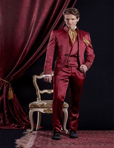 Embroidery Groomsmen Mandarin Lapel Groom Tuxedos Burgundy Men Suits Wedding Prom Dinner Best Man Blazer ( Jacket+Pants+Tie+Vest ) K198