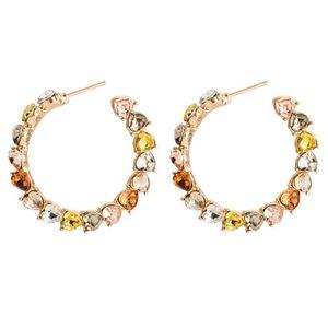 Love Shape Rhinestone Ear Ring Stylish Exquisite Bohemia Eardrop Personality Big Dangler Women'S Jewelry For Women Girls 1Pair (