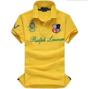 Yeni Yaz Erkekler Yaka Gömlek Erkek Giyim Katı Erkek Polo Gömlek ABD Amerikan Bayrağı Marka Polos Erkekler Kısa Kol Spor Polo 309 # Erkek Coat Bırak