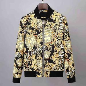 뜨거운 판매 새로운 인쇄 메두사 자켓 자켓 가을 남성 캐주얼 재킷 스포츠 후드 티 긴 소매 지퍼 트렌치 코트 남성 라운드 넥