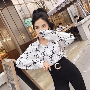 Camisa de manga larga 2020 del diseño del nuevo de las mujeres tendencia de la moda atractivo de la impresión ocasional de la camisa Negro y negro de dos colores de envío