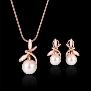 Düğün Rose Gold Alaşım Takı Seti Moda Trend Kadın Kız Lady Yuvarlak kolye kolye Mücevherat için İnci Kolye Küpe Seti