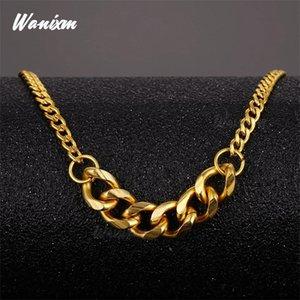Cuban Catena Wanixm Collana in acciaio inox oro impermeabile Chain del bordo monili del regalo donne degli uomini di collegamento personalizzato all'ingrosso