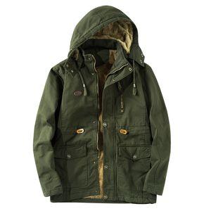 Seção longa dos homens de inverno além de jaqueta de veludo juventude gola algodão lavagem com areia tamanho grande casaco cor sólida com zíper manga longa