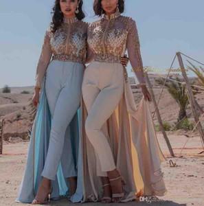 2020 Aso Ebi lussuosa Dubai arabo veste la tuta sera Alta collo Crstals Prom Dresses partito convenzionale gli abiti di sera Abiti