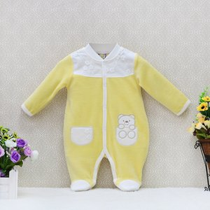 2020 Newborn Girls Autumn One Pieces Romper Velour rivets button long sleeve sleepwear baby clothes lace fashion kids clothing