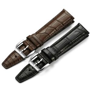 Guarda il cuoio di alta qualità del cinturino del cinturino con fibbia ad ardiglione argento cinturino per IW 20 millimetri 21 millimetri 22 millimetri Nero Marrone