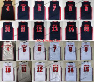 1992 Squadra Uno Mens Larry Bird Michael J Ewing Pippen Mullin Robinson Drexler Laettner Stockton Malone Johnson Barkley pallacanestro Jersey
