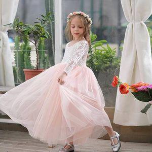 Girl Princess Dress Ankle Length Wedding Party Dress Eyelash Back White Lace Beach Dress Children Clothing E15177 T200709