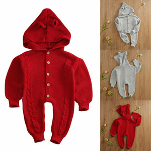Boy Girl 0-18M bebê recém-nascido Inverno camisola de malha Jumpsuit com capuz Romper casaco quente