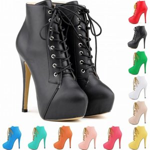 Plus Size Ankle Boots For Women Platform 14CM High Heels Female Lace Up Shoes Woman Buckle Short Boot Casual Ladies Footwear