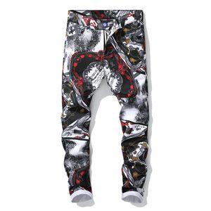 Jeans para hombre Moda Retro Recta Motocicleta Biker Flag Jeans Streetwear Style Punk Colorful Flag Pantalones de mezclilla Ropa al por mayor