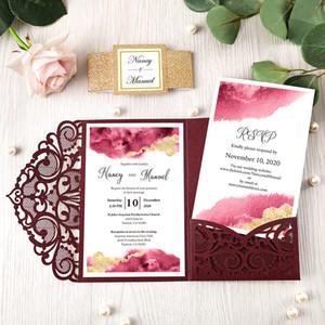 Marsala convites do casamento, Fato convite do chá de Borgonha Lace Laser Cut nupcial com Rose Gold Glitter Band e Tag, Quinceanera convites